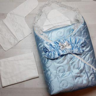 Одеяло с комплектом «Стежка» голубой