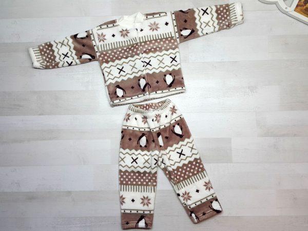 Пижама евромахра коричневая с пингвинами