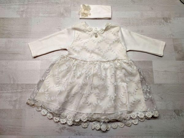 Платье кружевное детское бежевое