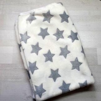 Плед евромахра белый с серыми звездами
