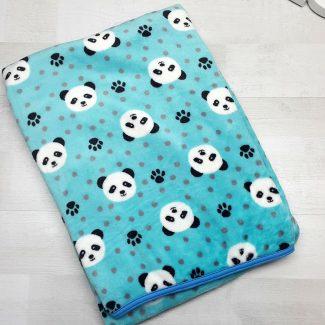 Плед евромахра голубой с пандами
