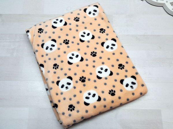 Плед евромахра персиковый с пандами