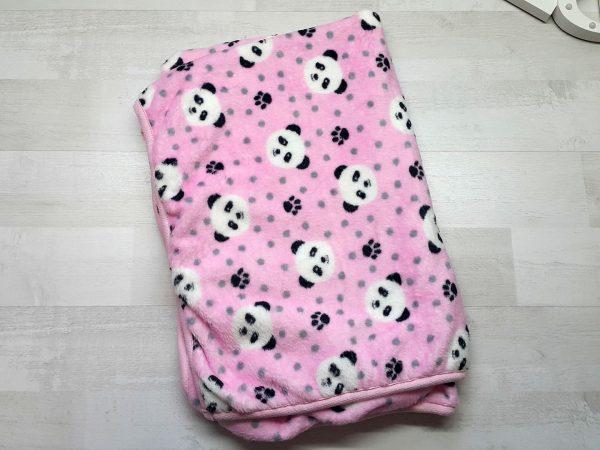 Плед евромахра розовый с пандами