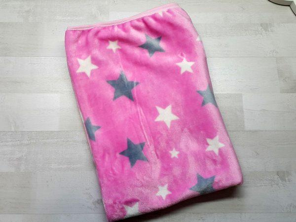Плед евромахра розовый со звездами