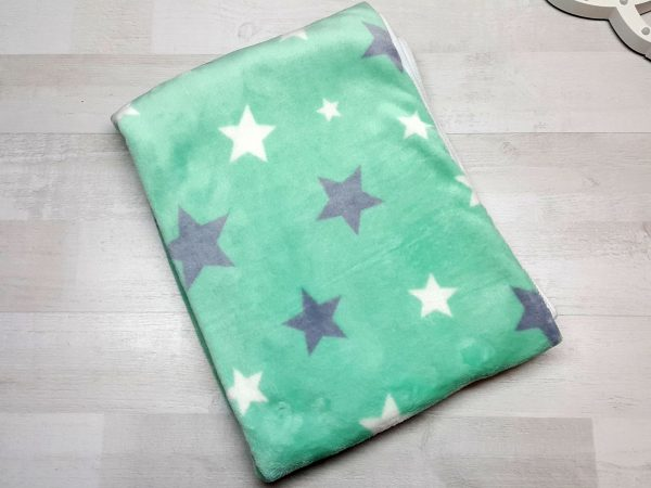 Плед евромахра зеленый со звездами