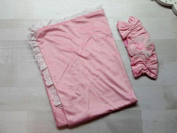 Плед с эластичной перевязкой розовый