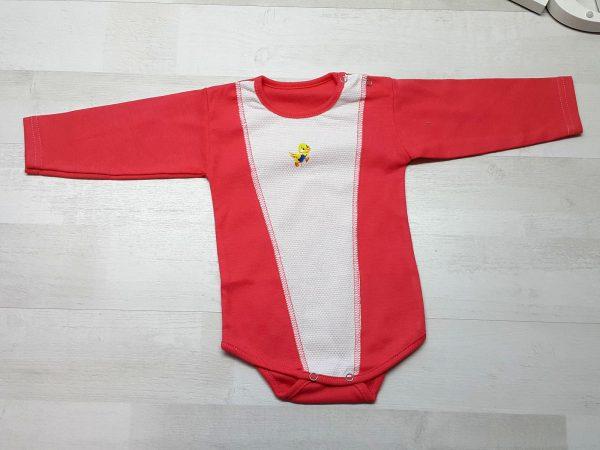 Боди с длинным рукавом и кнопками на плече красный