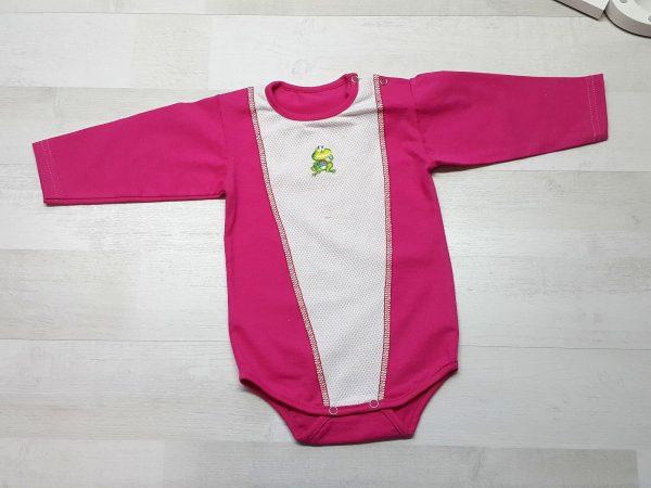 Боди с длинным рукавом и кнопками на плече розовый