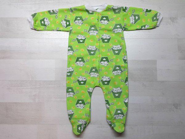 Комбинезон для новорожденного тонкий зелёный