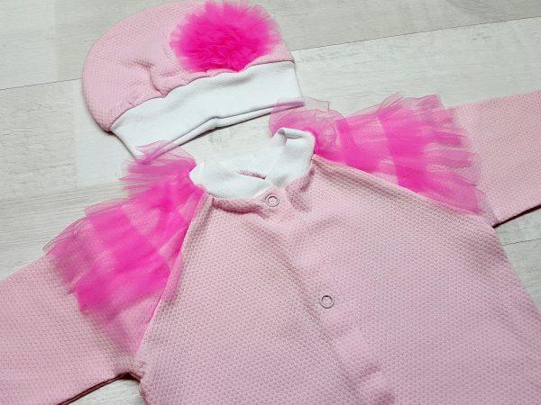 Комплект из кофточки, ползунков и шапочки розовый 2