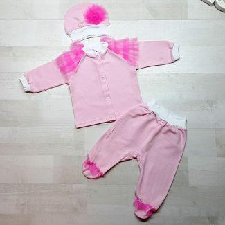 Комплект из кофточки, ползунков и шапочки розовый