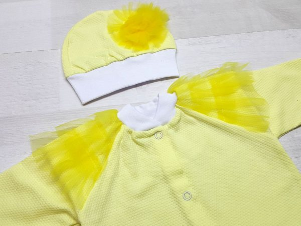 Комплект из кофточки, ползунков и шапочки желтый 3