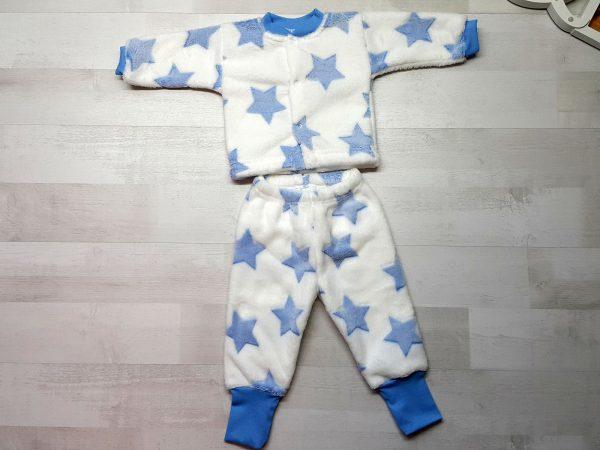 Костюм кофта и штанишки велсофт голубые звезды