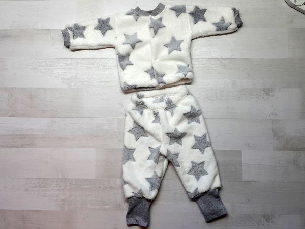 Костюм кофта и штанишки велсофт серые звезды