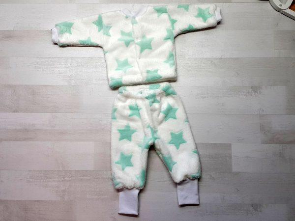Костюм кофта и штанишки велсофт зеленые звезды