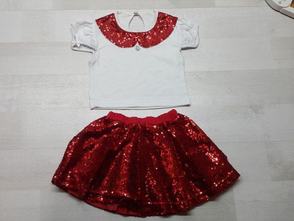 Костюм кофточка и юбка с пайетками красный