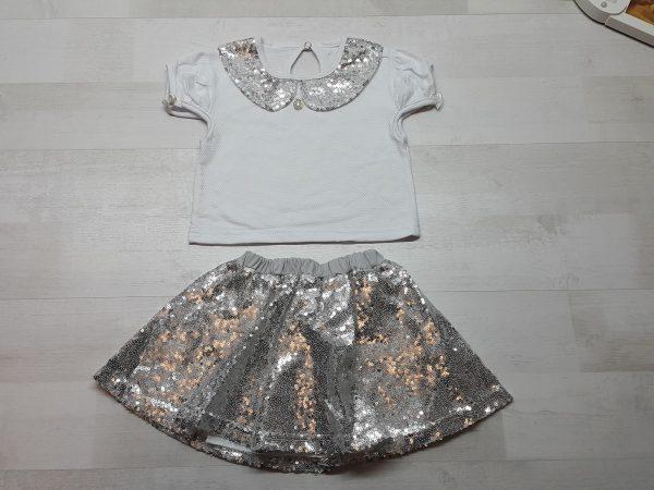 Костюм кофточка и юбка с пайетками серебристый
