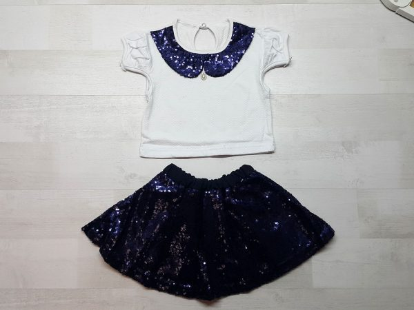 Костюм кофточка и юбка с пайетками синий