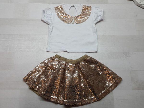 Костюм кофточка и юбка с пайетками золотистый