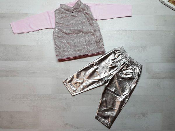 Костюм с жилеткой для девочки розовый
