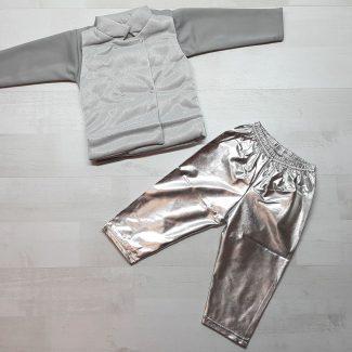 Костюм с жилеткой для девочки серый