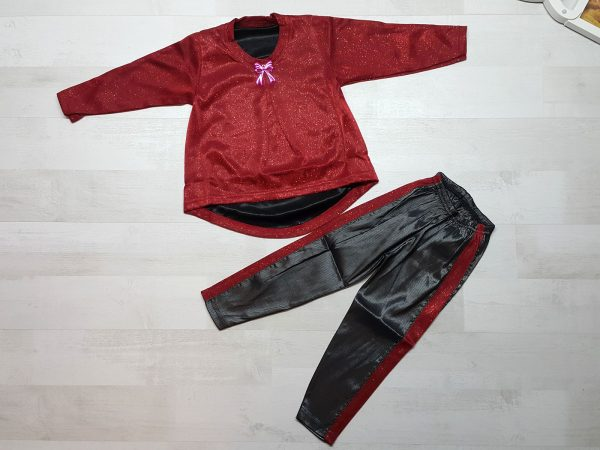 Костюм туника с лосинами красный