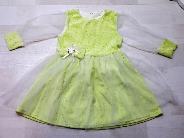 Нарядное платье из велюра зеленое