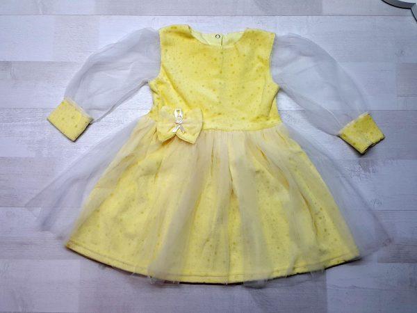 Нарядное платье из велюра желтое
