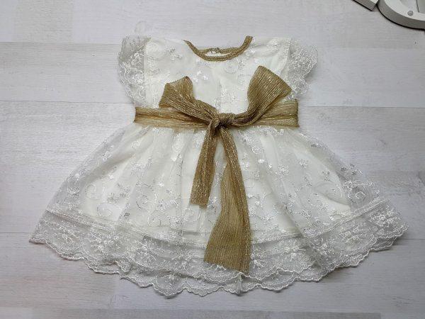 Нарядное платье с блестящим поясом золотистое
