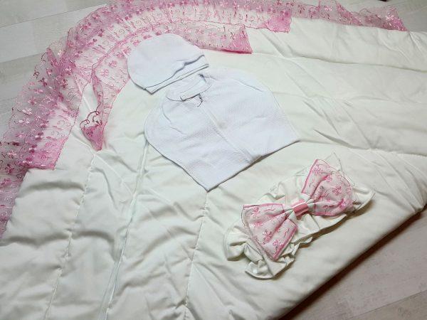 Одеяло с фиксатором розовое 2