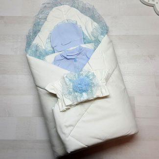 Одеяло с резинкой-фиксатором голубое