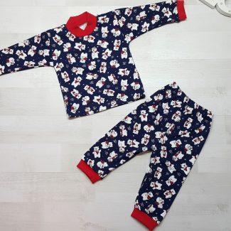 Пижама детская интерлок синяя с мишками