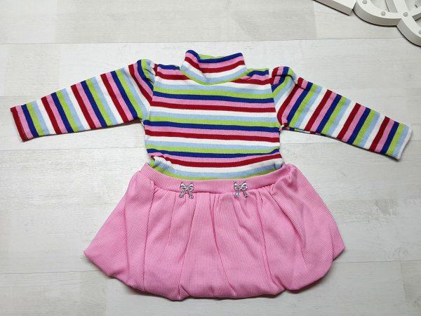 Платье баллон полосатое розовое