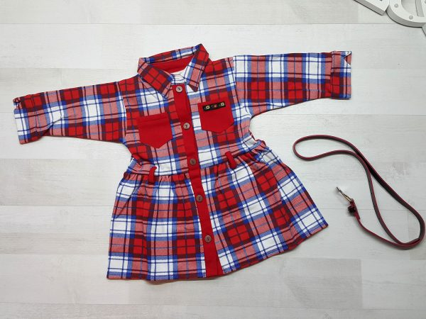 Платье-халат в клетку с поясом красное