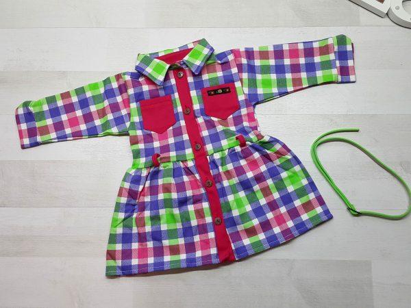Платье-халат в клетку с поясом зеленое