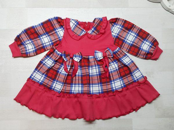 Платье клетчатое с кокеткой красное