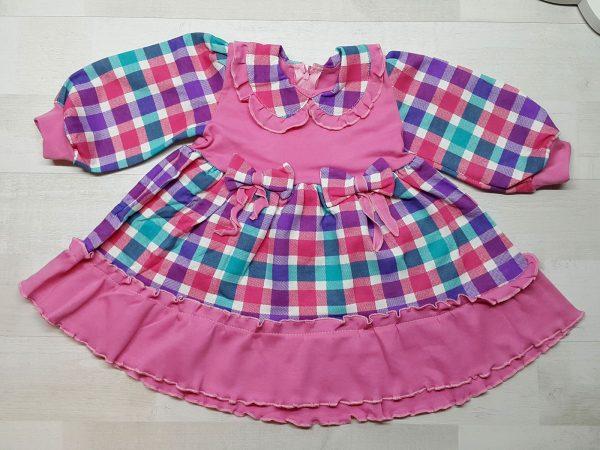 Платье клетчатое с кокеткой розовое
