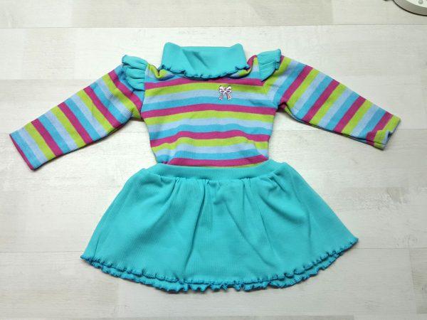 Платье полосатое с крылышками бирюзовое