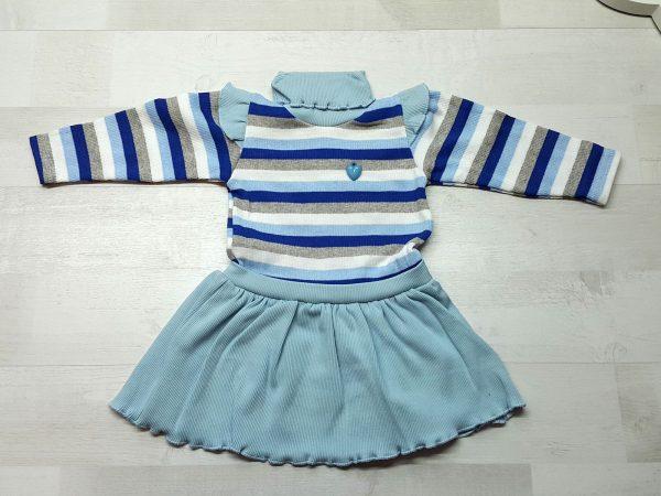 Платье полосатое с крылышками голубое