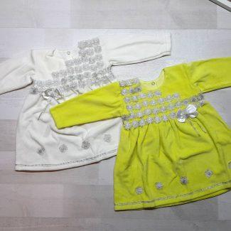 Велюровое платье с серебряной отделкой