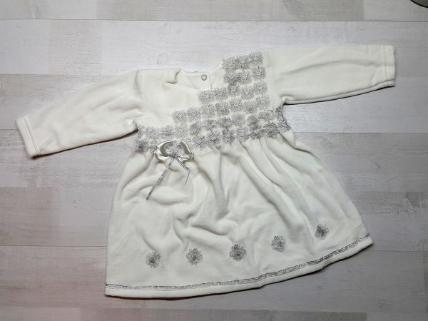 Велюровое платье с серебряной отделкой бежевое