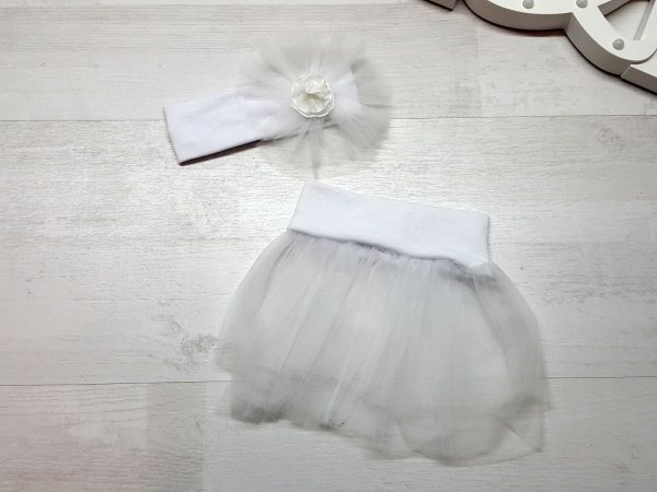 Юбка-пачка с повязкой белая