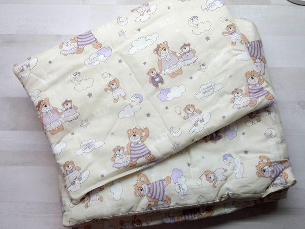 Набор в кроватку (7 предметов) бежевый с мишками 2