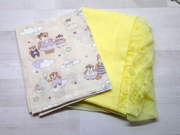 Набор в кроватку (7 предметов) бежевый с мишками 3