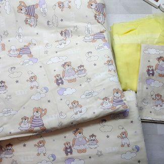 Набор в кроватку (7 предметов) бежевый с мишками