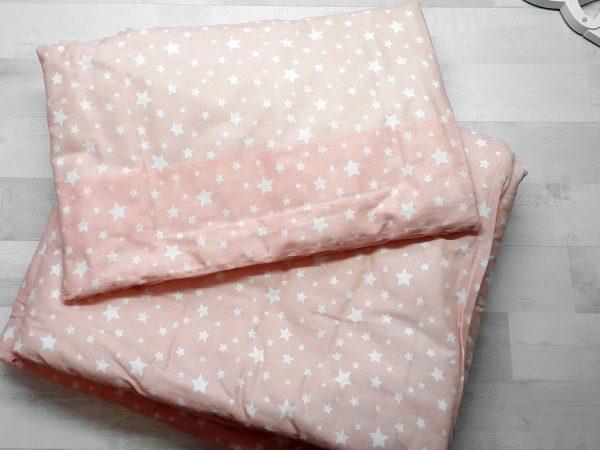 Набор в кроватку (7 предметов) розовый со звездами 1