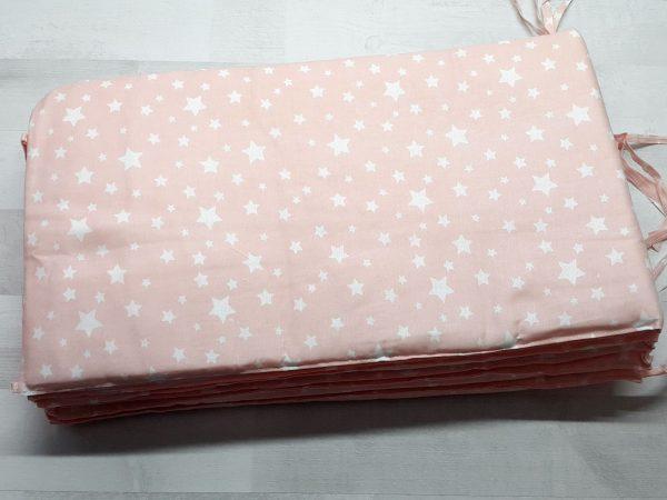 Набор в кроватку (7 предметов) розовый со звездами 2