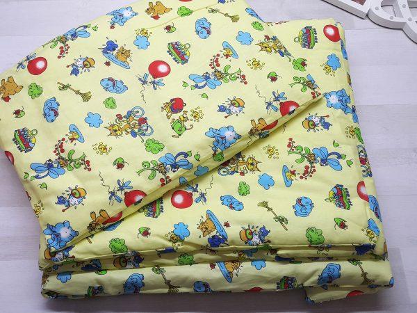 Набор в кроватку (7 предметов) желтый с шариками 2