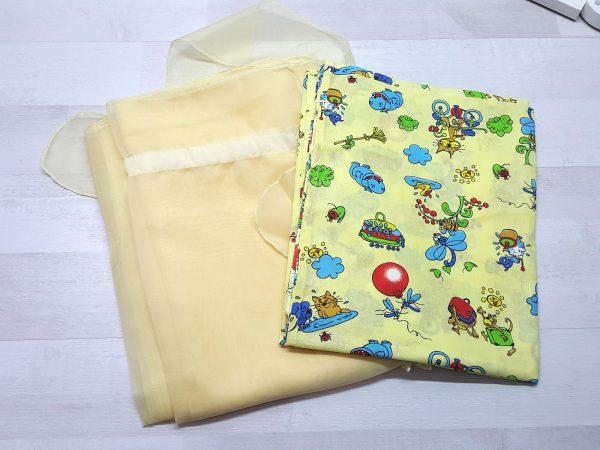 Набор в кроватку (7 предметов) желтый с шариками 3