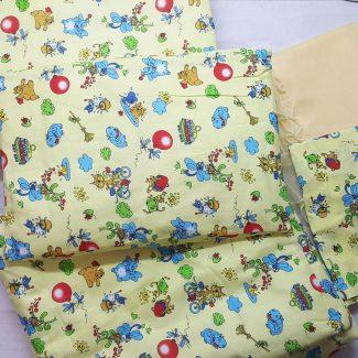 Набор в кроватку (7 предметов) желтый с шариками